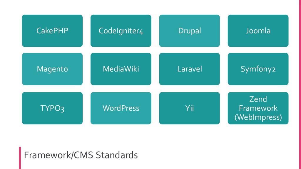 Framework/CMS Standards Laravel Joomla Symfony2...