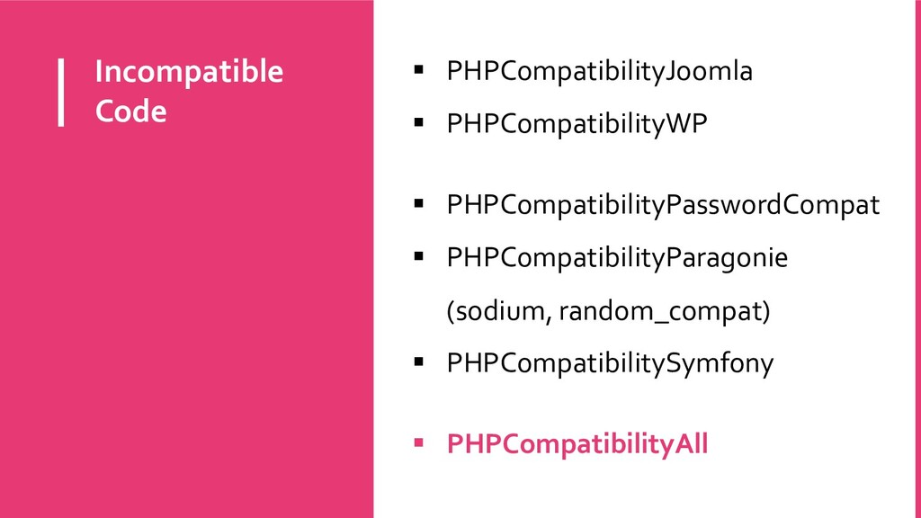 Incompatible Code  PHPCompatibilityJoomla  PH...