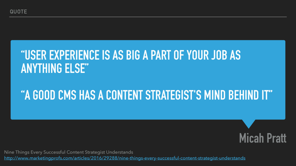 """""""USER EXPERIENCE IS AS BIG A PART OF YOUR JOB A..."""