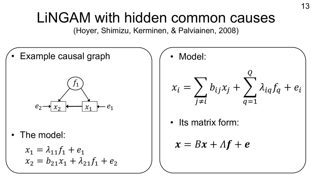 LiNGAM with hidden common causes (Hoyer, Shimiz...