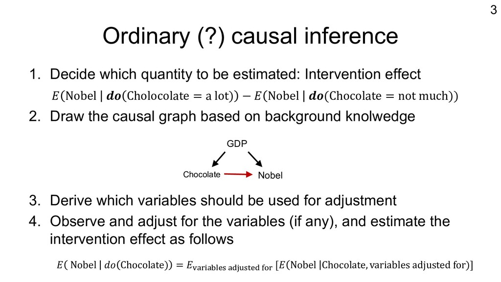 Ordinary (?) causal inference 1. Decide which q...