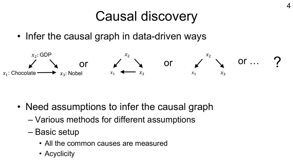 Causal discovery • Infer the causal graph in da...