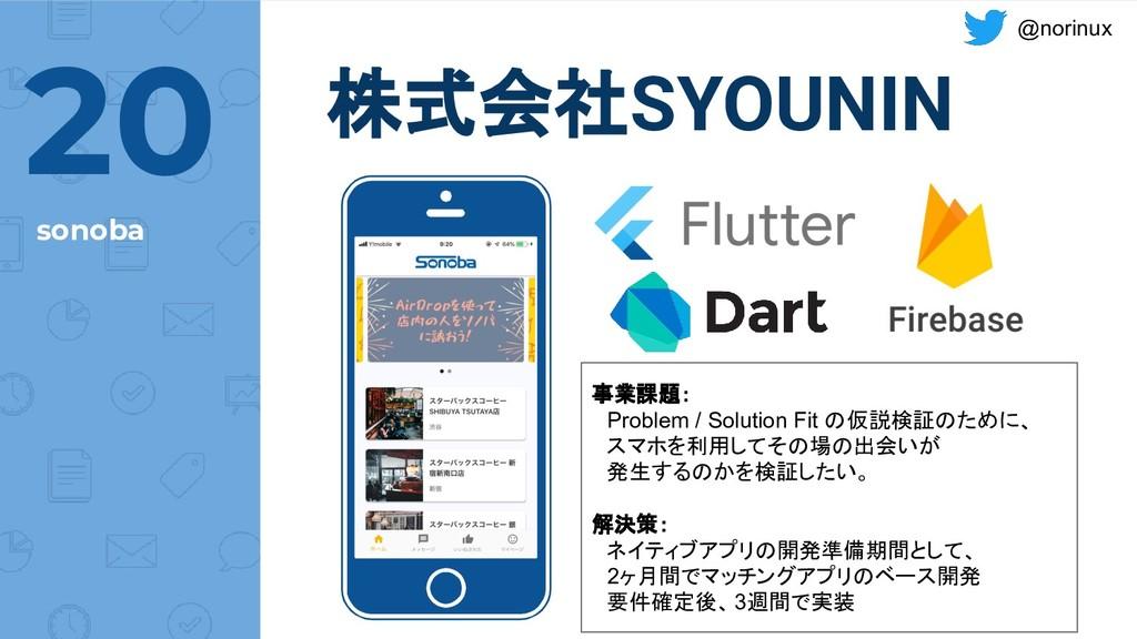 @norinux @norinux 株式会社SYOUNIN sonoba 20 事業課題:  ...