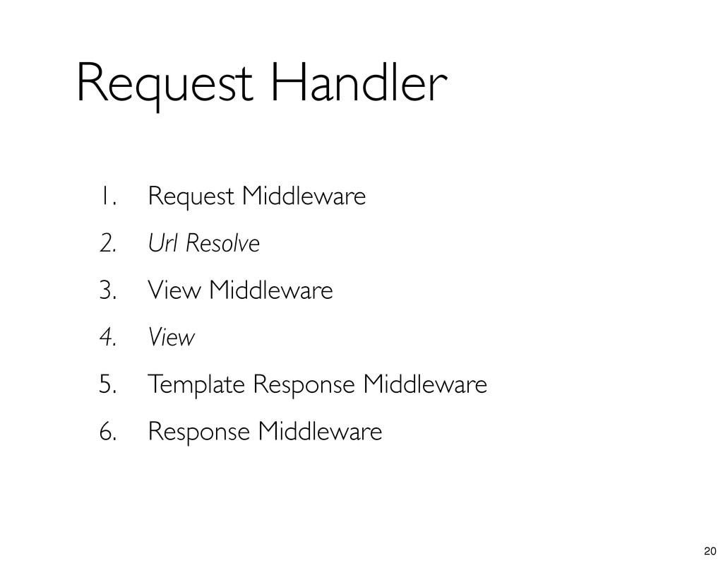 1. Request Middleware 2. Url Resolve 3. View Mi...