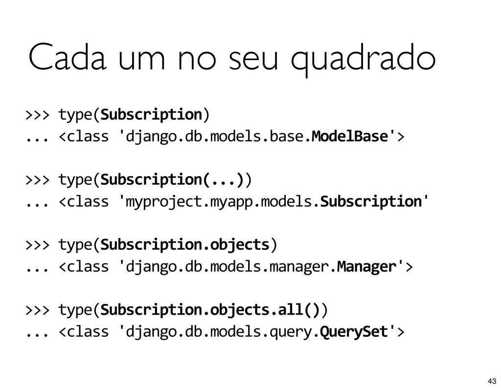 Cada um no seu quadrado >>> type(Subscriptio...