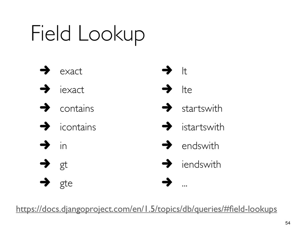 Field Lookup exact iexact contains icontains in...
