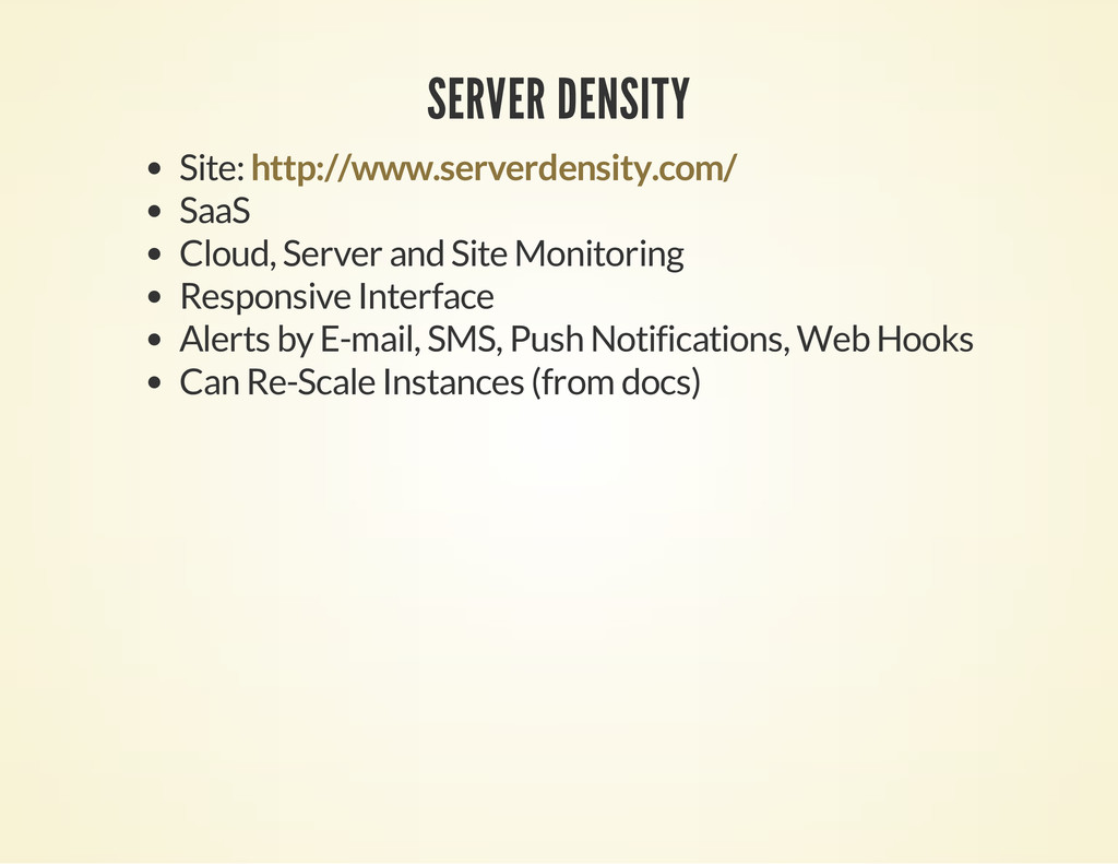 SERVER DENSITY Site: SaaS Cloud, Server and Sit...