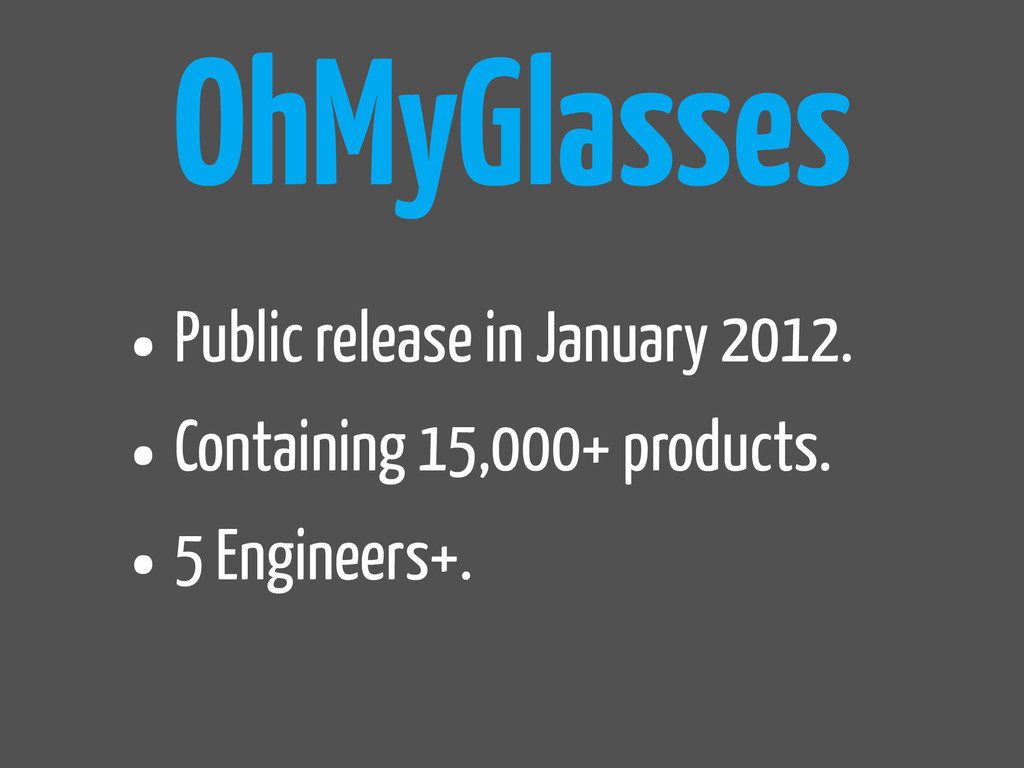OhMyGlasses •Public release in January 2012. •C...