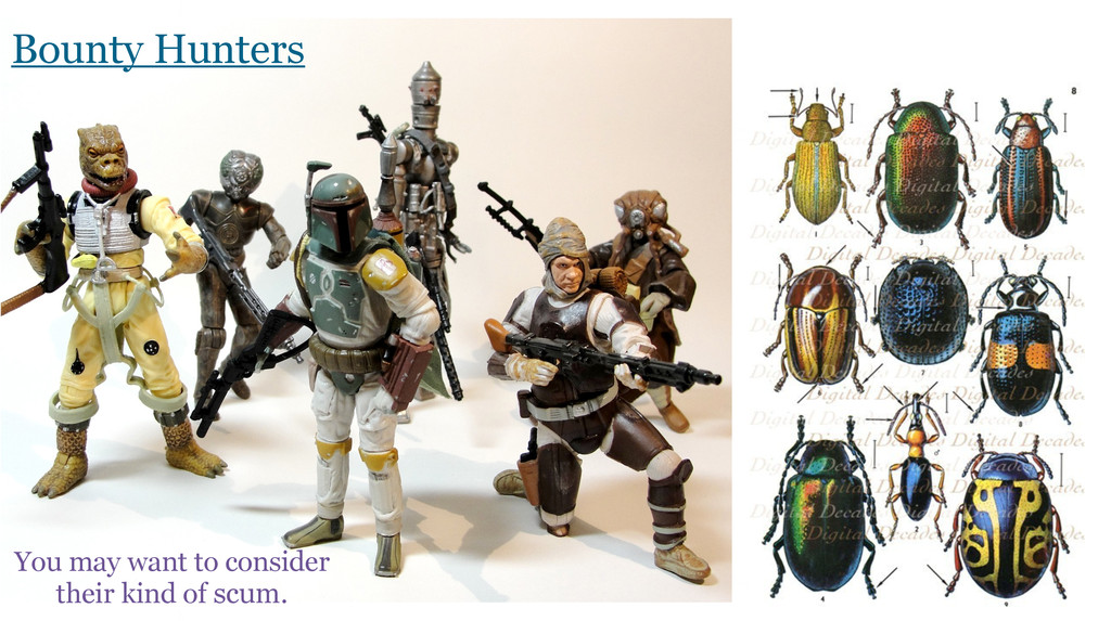 Bounty Hunters You may want to consider their k...