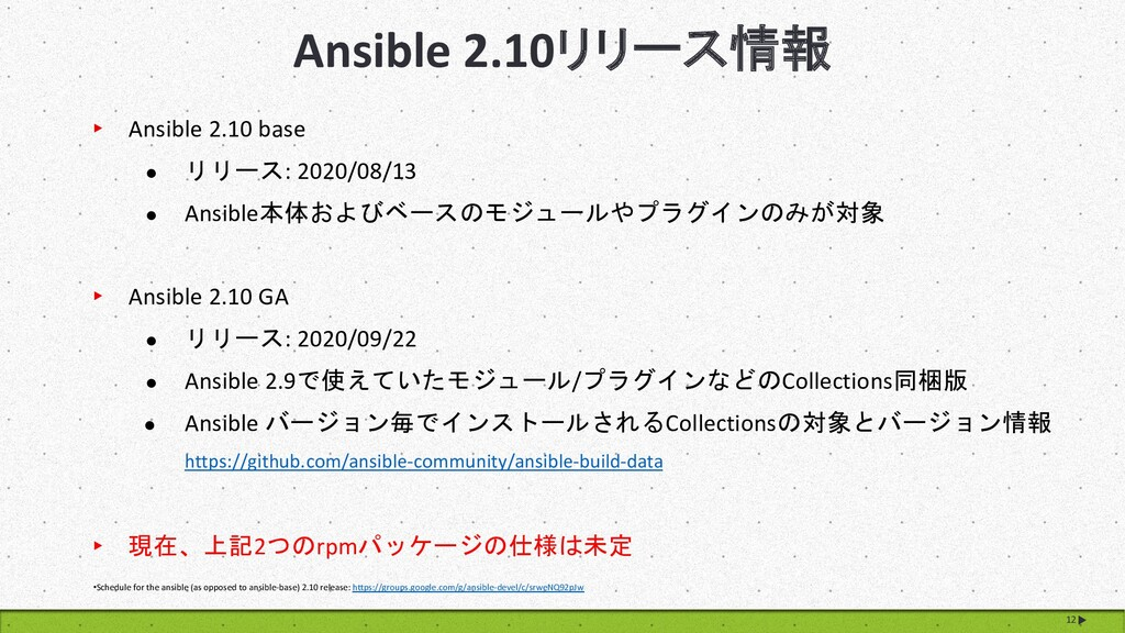 Ansible 2.10リリース情報 12 •Schedule for the ansible...