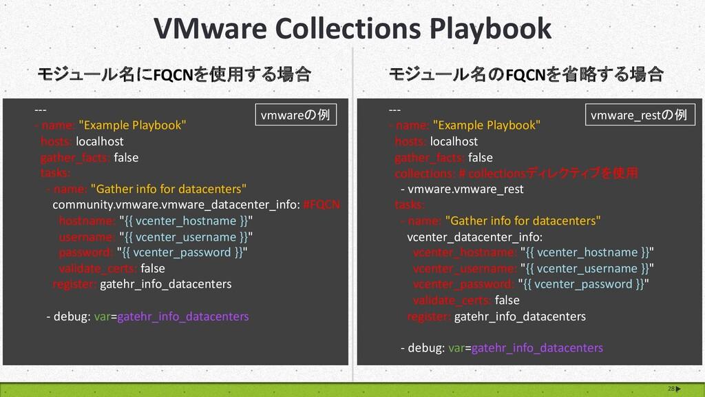 VMware Collections Playbook 28 モジュール名にFQCNを使用する...