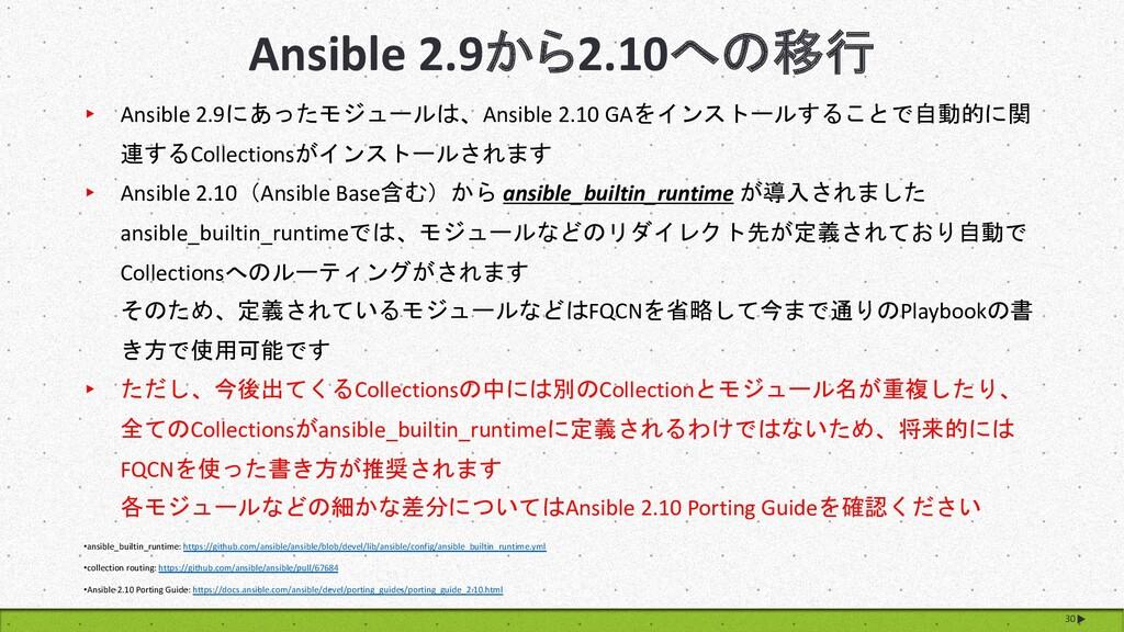 Ansible 2.9から2.10への移行 30 ▸ Ansible 2.9にあったモジュール...