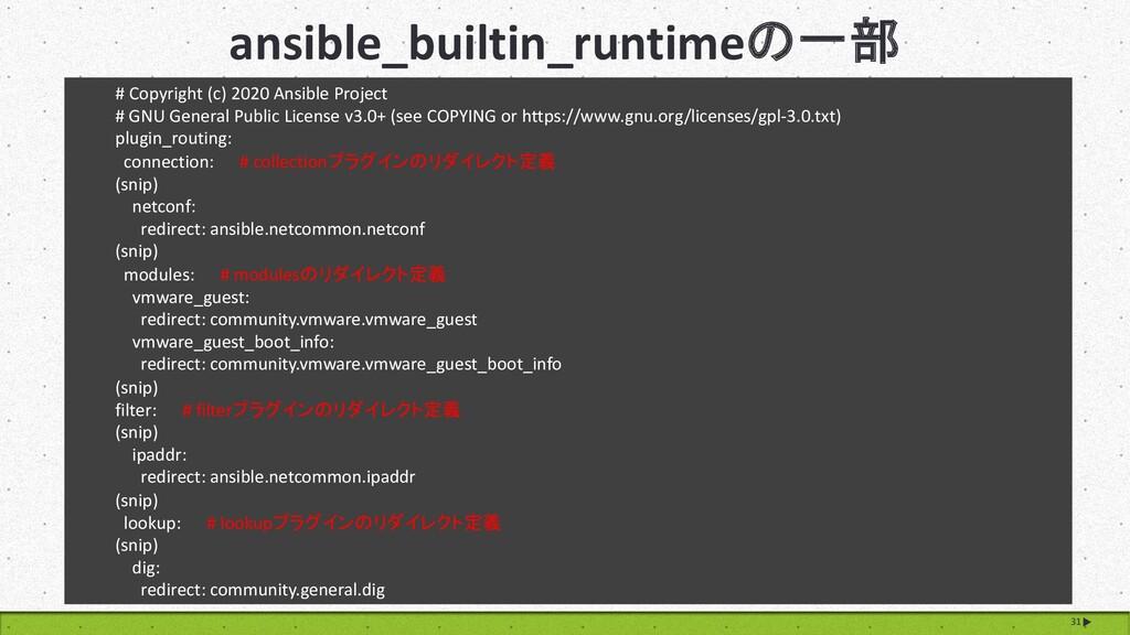 ansible_builtin_runtimeの一部 31 # Copyright (c) 2...
