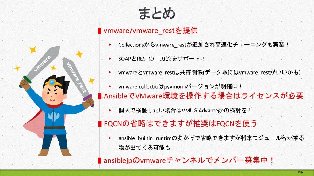 36 まとめ vmware/vmware_restを提供 ▸ Collectionsからvmw...