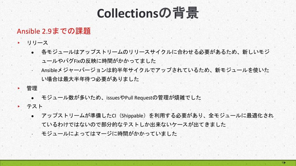 9 Collectionsの背景 Ansible 2.9までの課題 ▸ リリース l 各モジュ...