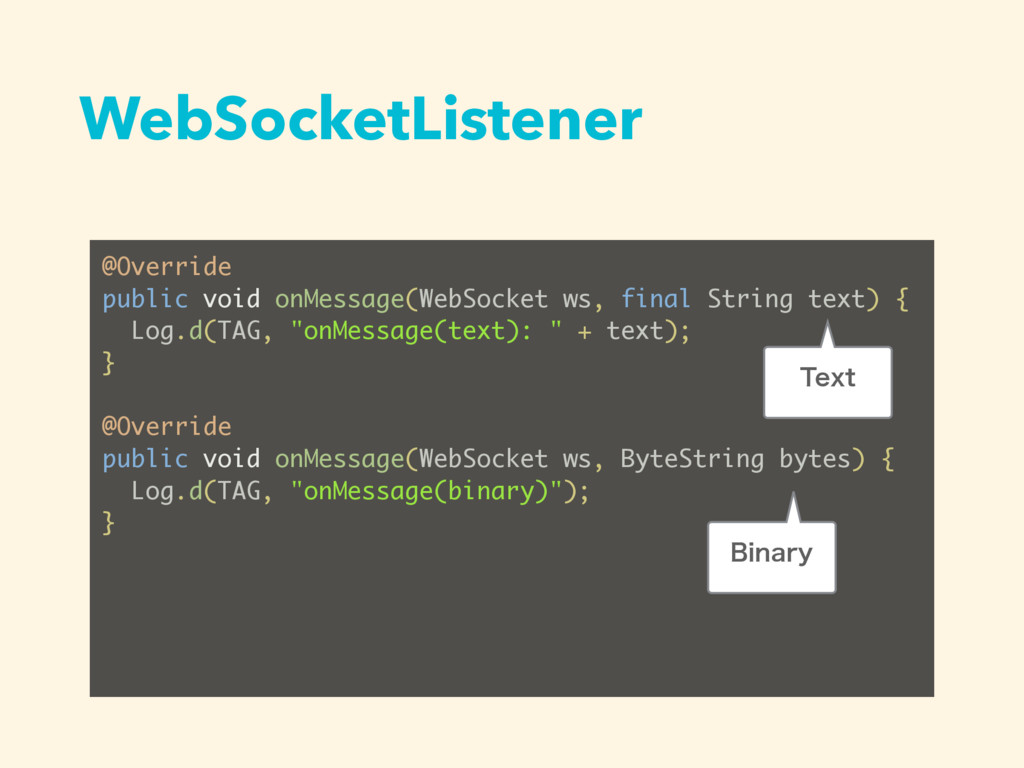 WebSocketListener @Override public void onMessa...