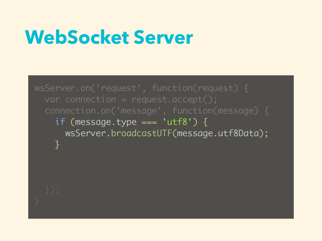 WebSocket Server wsServer.on('request', functio...