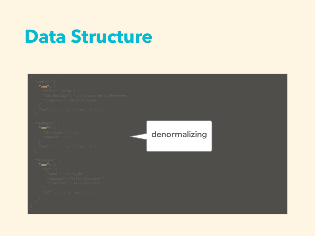 """Data Structure { """"chats"""": { """"one"""": { """"title"""": """"..."""