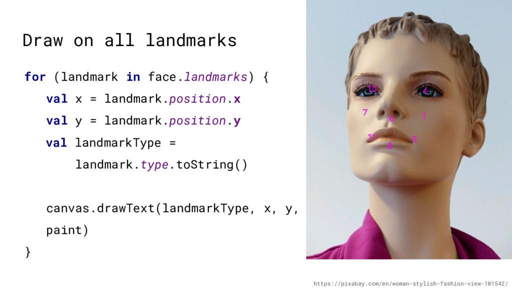 Draw on all landmarks for (landmark in face.lan...