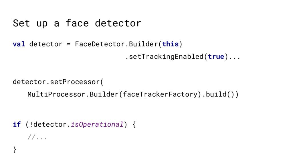 Set up a face detector val detector = FaceDetec...