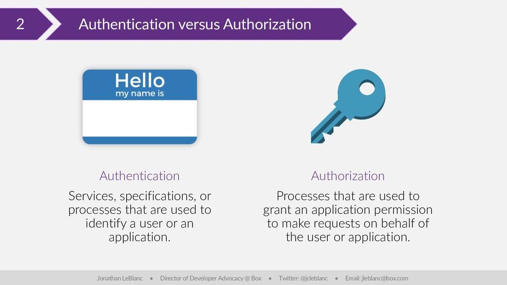 2 Authentication versus Authorization Jonathan ...