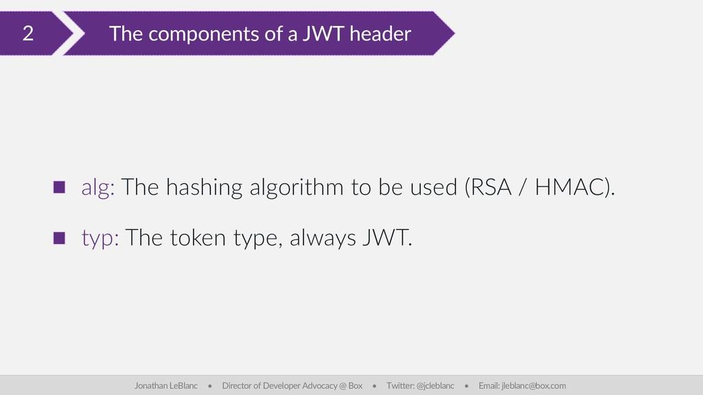 2 The components of a JWT header Jonathan LeBla...