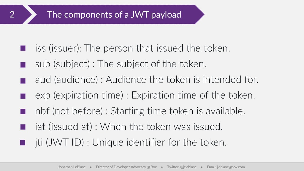 2 The components of a JWT payload Jonathan LeBl...