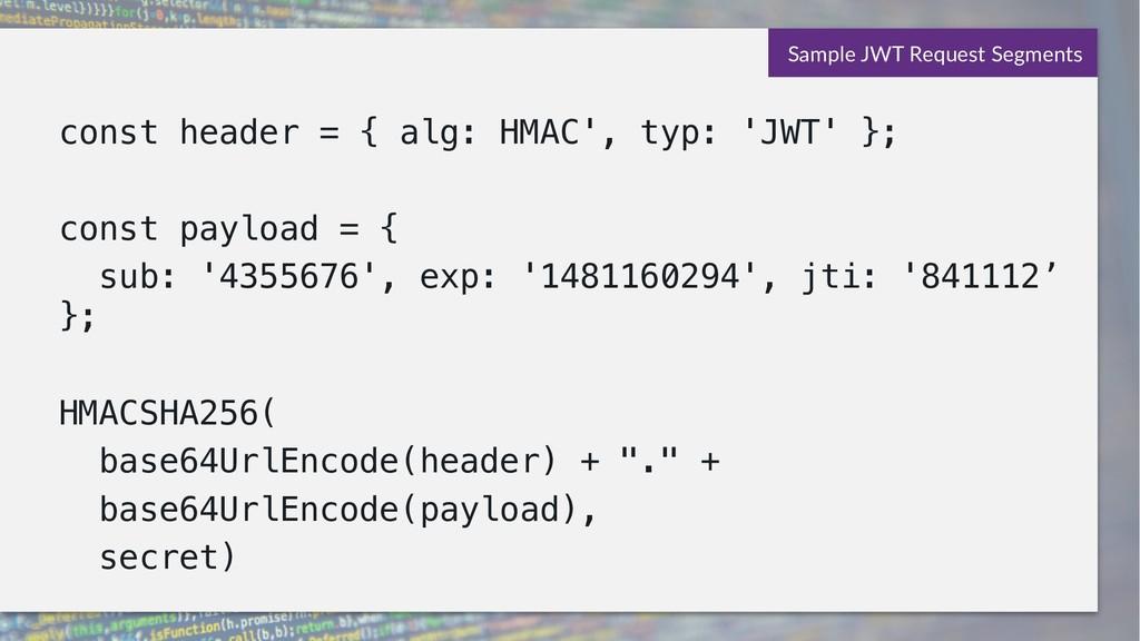 const header = { alg: HMAC', typ: 'JWT' }; cons...