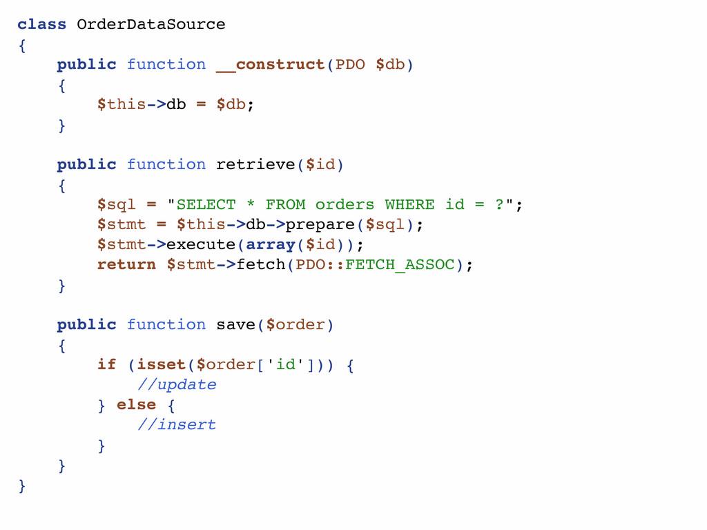 class OrderDataSource { public function __const...
