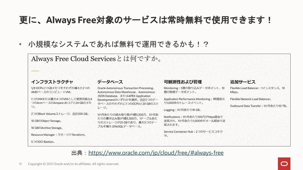 • 小規模なシステムであれば無料で運用できるかも!? 更に、Always Free対象のサービ...