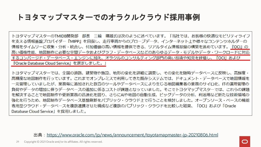 トヨタマップマスターでのオラクルクラウド採用事例 Copyright © 2021 Oracl...