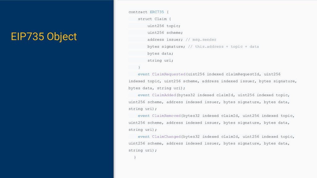 EIP735 Object contract ERC735 { struct Claim { ...