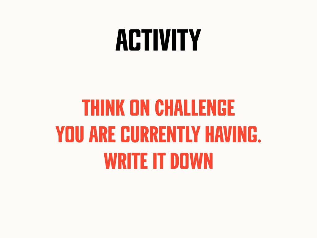 Activity Think on Challenge yoU are cUrrently h...