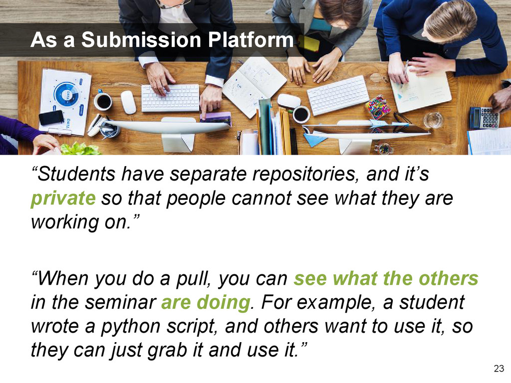 """""""Students have separate repositories, and it's ..."""