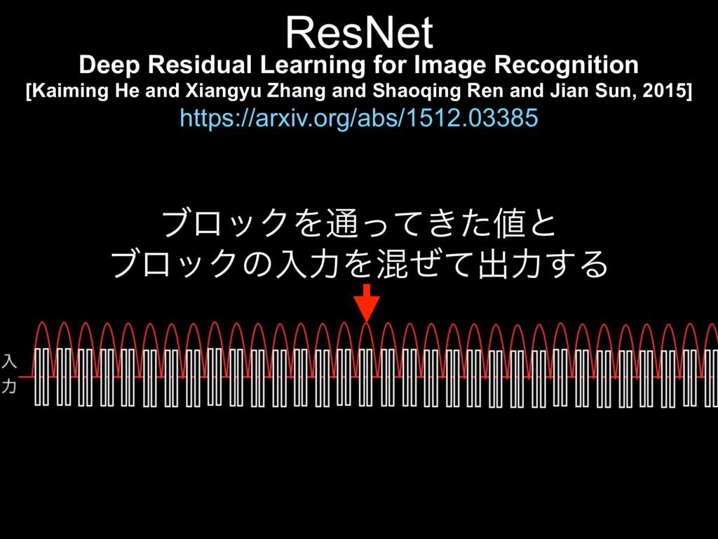ϒϩοΫΛ௨͖ͬͯͨͱ ϒϩοΫͷೖྗΛࠞͥͯग़ྗ͢Δ ResNet Deep Resid...