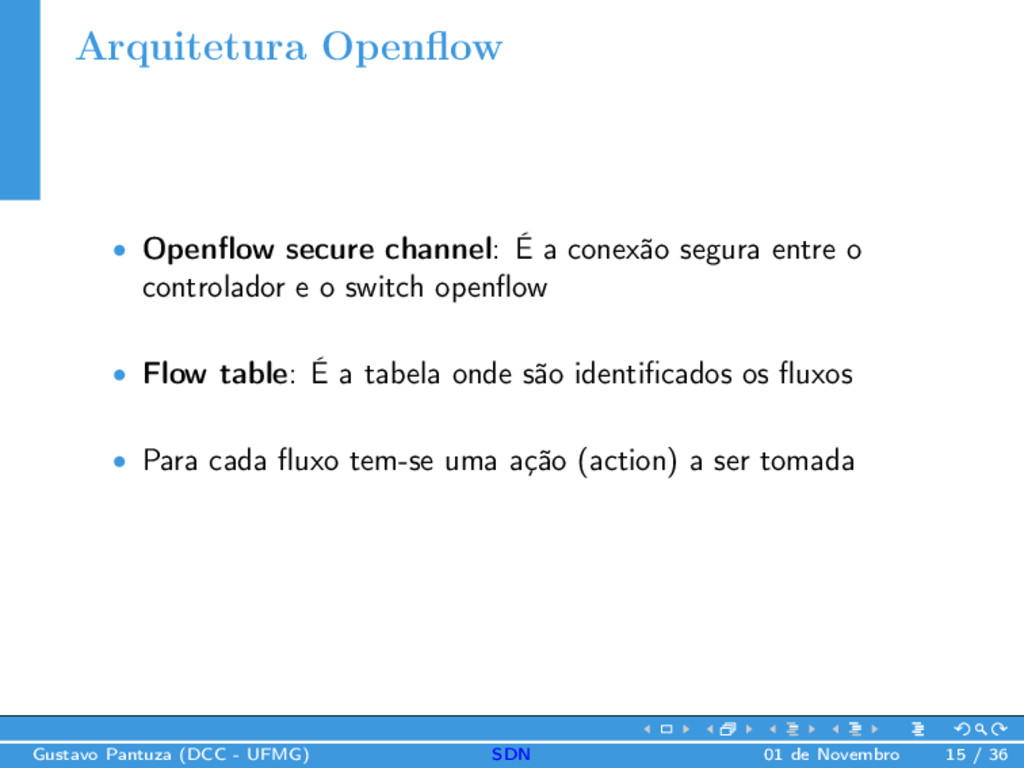 Arquitetura Openflow • Openflow secure channel: É...