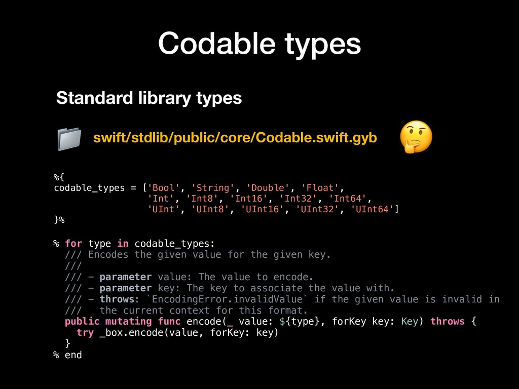 Codable types %{ codable_types = ['Bool', 'Stri...