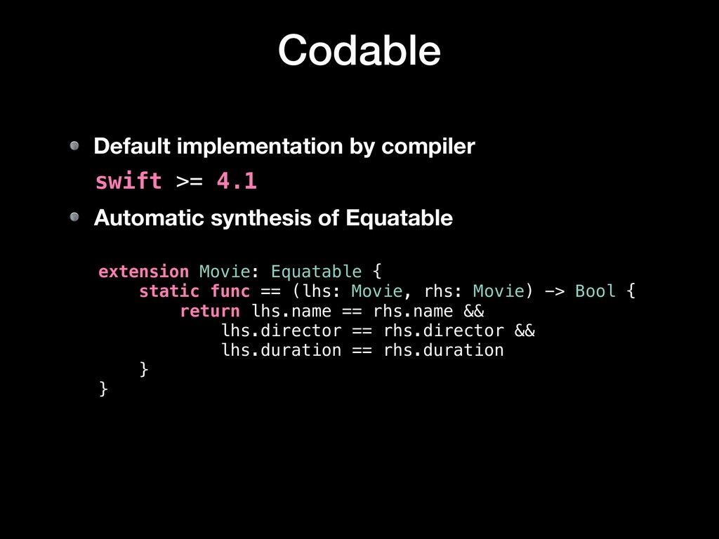 Codable extension Movie: Equatable { static fun...