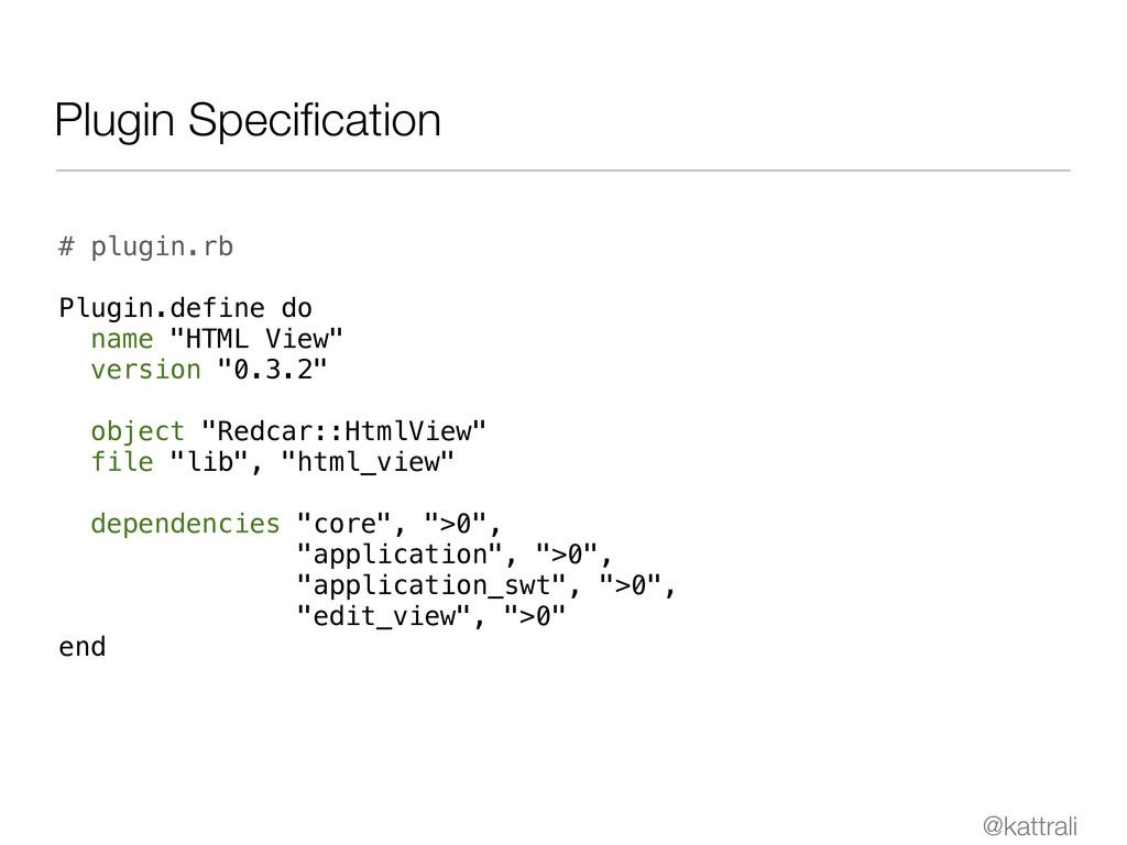 @kattrali Plugin Specification # plugin.rb Plugi...