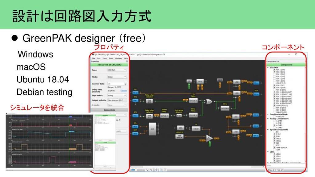 設計は回路図入力方式  GreenPAK designer (free) Windows m...