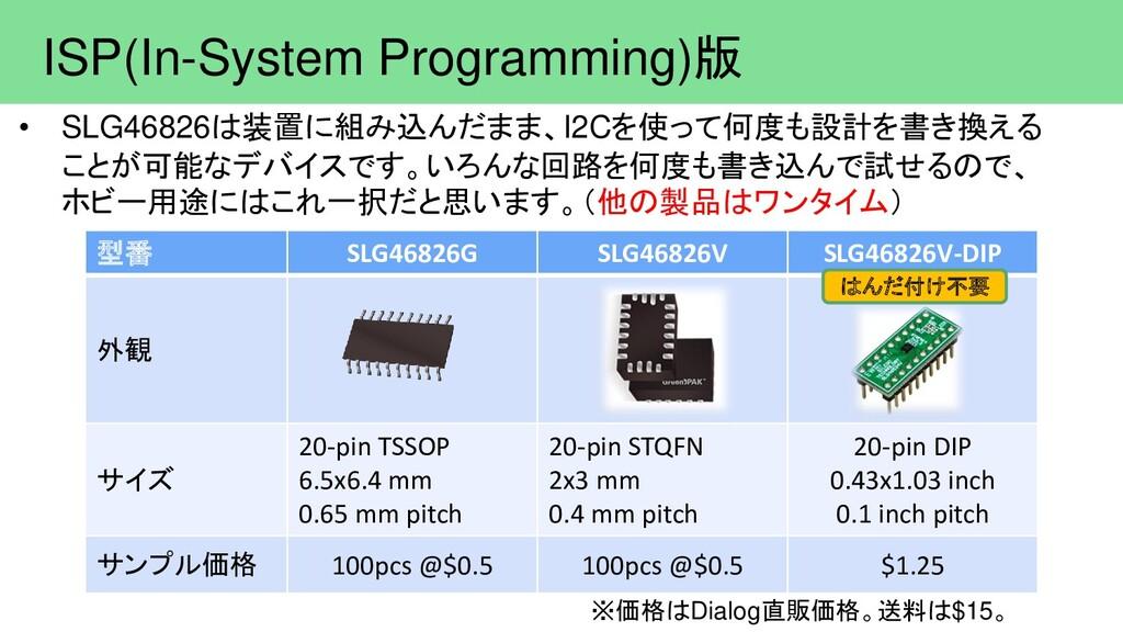 ISP(In-System Programming)版 • SLG46826は装置に組み込んだ...