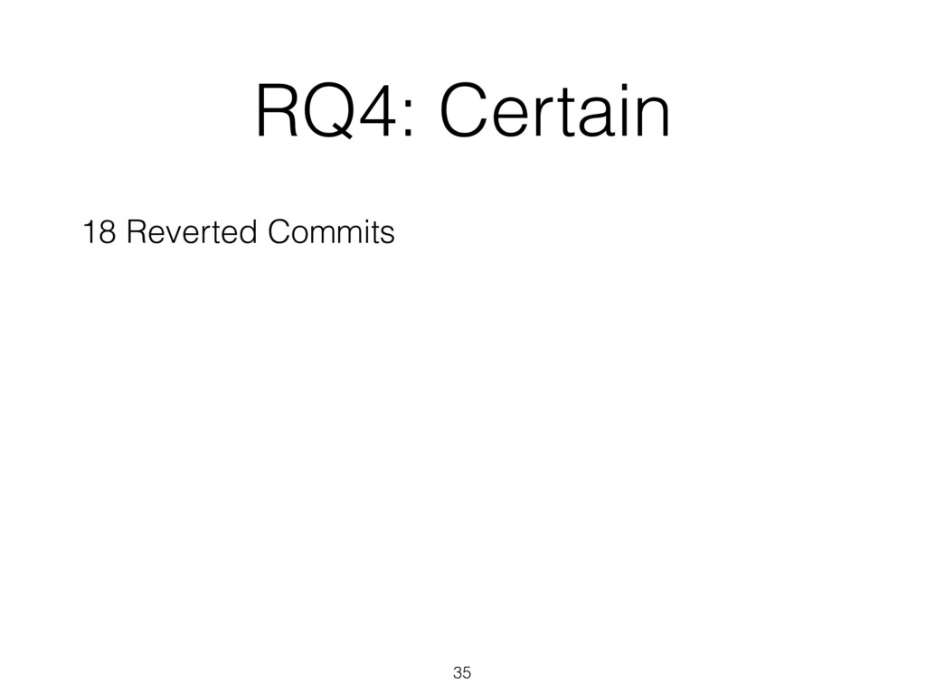 RQ4: Certain 35 18 Reverted Commits
