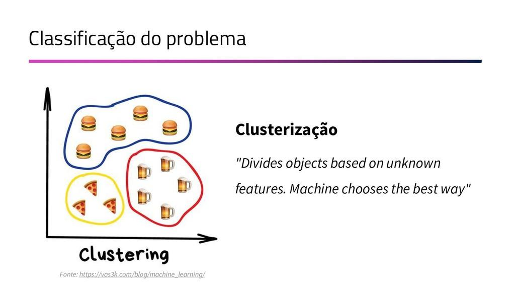 """Classificação do problema Clusterização """"Divide..."""