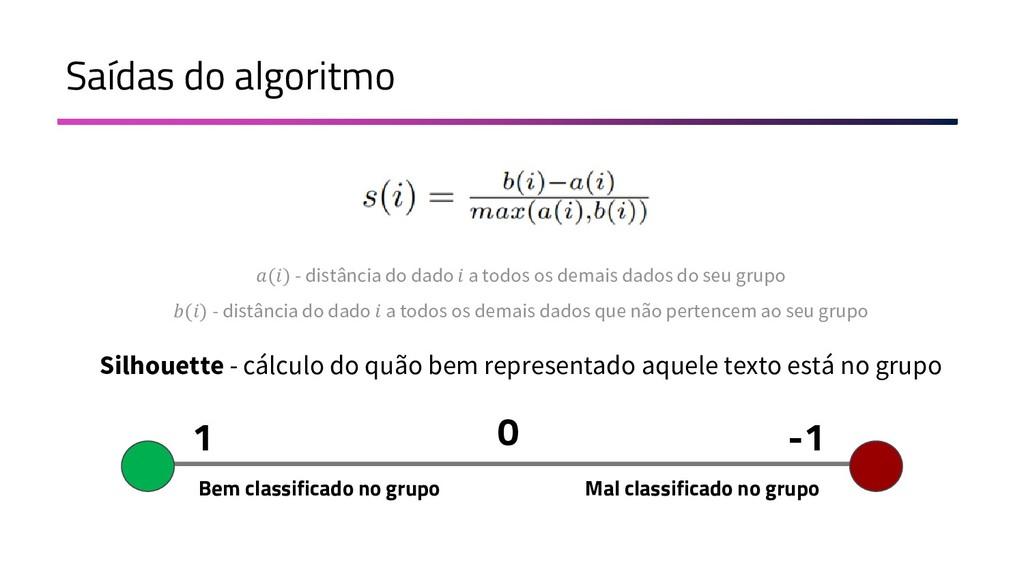 Saídas do algoritmo Silhouette - cálculo do quã...