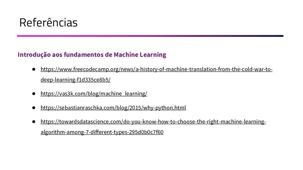 Referências Introdução aos fundamentos de Machi...
