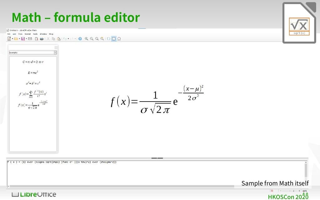 11 HKOSCon 2020 Math – formula editor Sample fr...