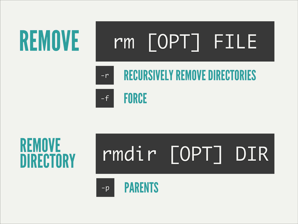 REMOVE rm [OPT] FILE REMOVE DIRECTORY rmdir [OP...