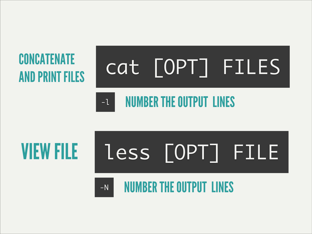 CONCATENATE AND PRINT FILES cat [OPT] FILES les...