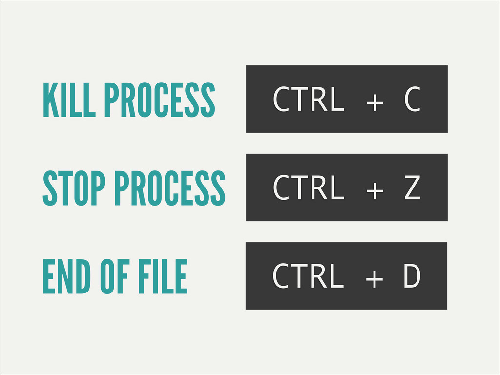 KILL PROCESS CTRL + C STOP PROCESS CTRL + Z END...