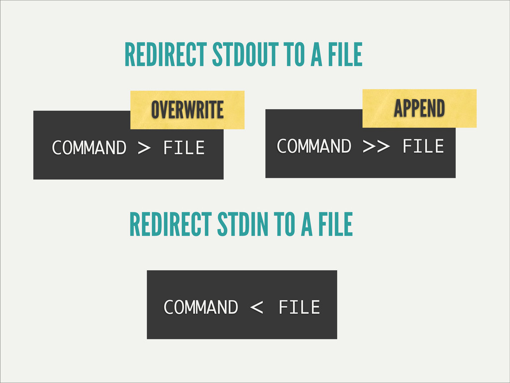 COMMAND > FILE REDIRECT STDOUT TO A FILE OVERWR...
